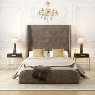 Стильный дизайн: большая гостевая спальня с белыми стенами, светлым паркетным полом, бежевым полом, сводчатым потолком и панелями на стенах без камина - последний тренд