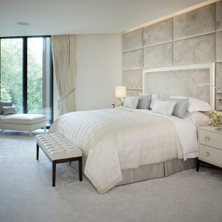 Inspiration For A Mid Sized Contemporary Carpeted Bedroom Remodel In London With White Walls