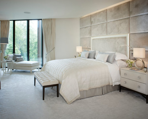 Inspiration for a mid sized contemporary carpeted bedroom remodel in London  with white walls. Romantic Master Bedroom Designs   Houzz