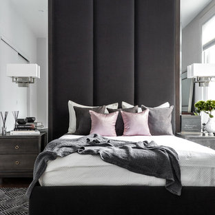 Inspiration For A Small Contemporary Master Carpeted And Gray Floor Bedroom  Remodel In Montreal With Gray
