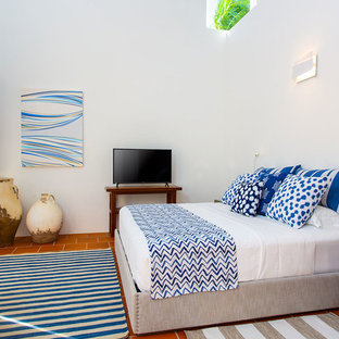 Photo of a traditional bedroom in Tampa with white walls, terracotta flooring and brown floors.