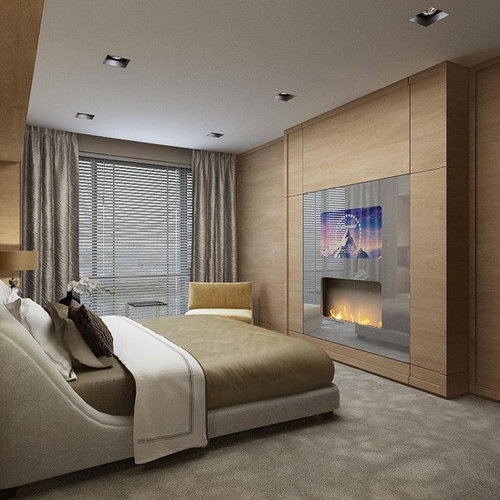 moderne schlafzimmer mit h ngekamin ideen design bilder houzz. Black Bedroom Furniture Sets. Home Design Ideas