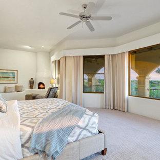 Стильный дизайн: большая хозяйская спальня с белыми стенами, ковровым покрытием, печью-буржуйкой и серым полом - последний тренд