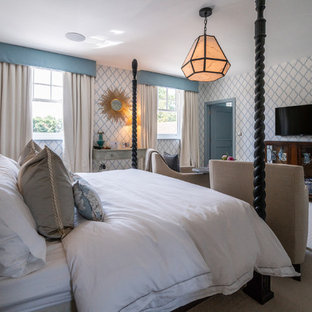 Design ideas for a contemporary bedroom in Buckinghamshire.
