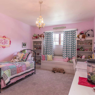 Design ideas for an arts and crafts bedroom in Chicago with pink walls, carpet and white floor.