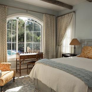 ニューヨークの中くらいの地中海スタイルのおしゃれな客用寝室 (青い壁、ライムストーンの床、暖炉なし、青い床、漆喰の暖炉まわり) のインテリア