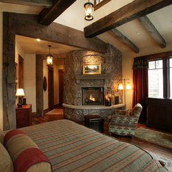 Eclectic corner fireplace bedroom design ideas pictures for Master bedroom corner fireplace