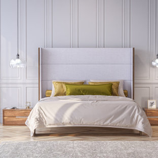 Inspiration for a mid-sized contemporary master bedroom in Other with brown walls, concrete floors, grey floor, wood and brick walls.