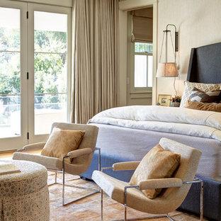 Immagine di una grande camera matrimoniale minimalista con pareti bianche, parquet chiaro, camino classico e cornice del camino in pietra