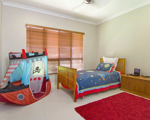 red bedroom design ideas renovations photos with porcelain flooring