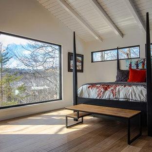 Cette image montre une grand chambre parentale craftsman avec un mur blanc, un sol en bois clair et aucune cheminée.