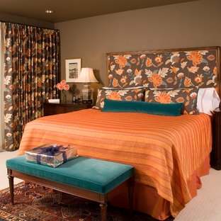 Example Of A Classic Carpeted Bedroom Design In Seattle With Brown Walls
