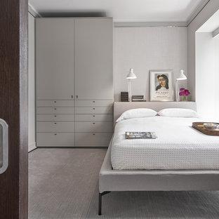 Modelo de habitación de invitados contemporánea, de tamaño medio, con paredes grises, moqueta y suelo gris