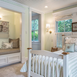 Design ideas for a medium sized country guest bedroom in Miami with green walls, carpet and no fireplace.