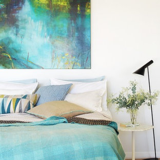 Design ideas for a contemporary bedroom in Perth with white walls and carpet.
