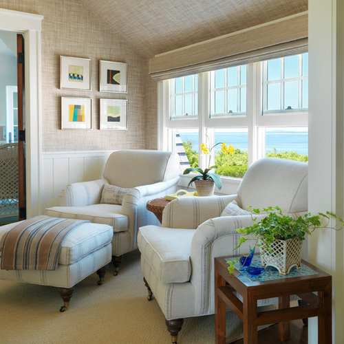 bedroom chairs and ottomans. Inspiration for a beach style carpeted bedroom remodel in Boston with beige  walls Chair Ottoman Houzz
