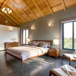 Idee per una camera da letto boho chic di medie dimensioni con pavimento grigio