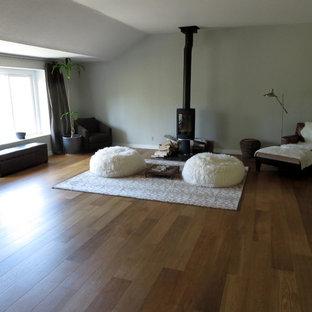 Mittelgroßes Klassisches Gästezimmer mit grauer Wandfarbe, dunklem Holzboden und Kaminofen in Los Angeles