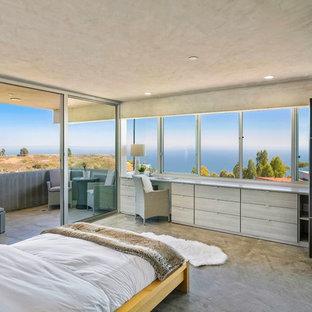 Bedroom - contemporary concrete floor and gray floor bedroom idea in Los Angeles with gray walls