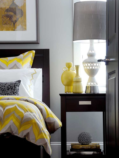 Gray And Yellow Bedroom | Houzz