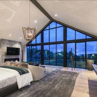 ロサンゼルスの広いコンテンポラリースタイルのおしゃれな主寝室 (グレーの壁、淡色無垢フローリング、横長型暖炉、コンクリートの暖炉まわり、茶色い床) のインテリア