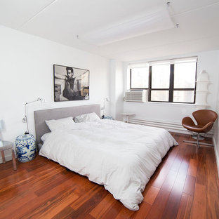 Mid-sized minimalist master dark wood floor and red floor bedroom photo in New York with white walls and no fireplace