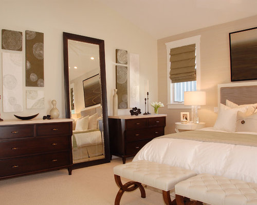 bedroom floor mirror. Transitional carpeted bedroom photo in Los Angeles with beige walls Floor Mirror  Houzz