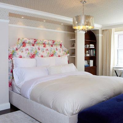 Example of a trendy bedroom design in New York with beige walls