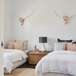Bedroom - mid-sized coastal dark wood floor bedroom idea in Sydney with white walls
