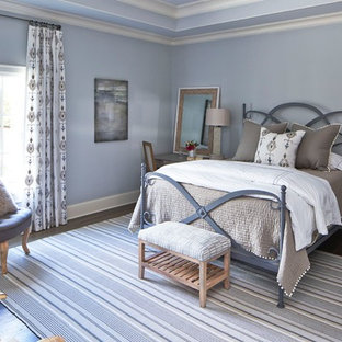 Bedroom - mid-sized farmhouse guest dark wood floor bedroom idea in Atlanta with blue walls and no fireplace