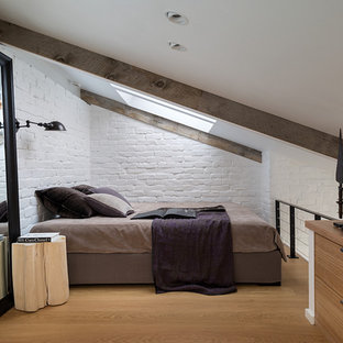 Inspiration for a small industrial loft-style bedroom in Moscow with white walls and light hardwood floors.