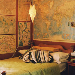 eclectic bedroom maps