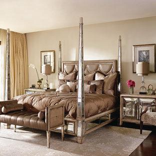 Bedroom - mid-sized contemporary master dark wood floor bedroom idea in Nashville with beige walls