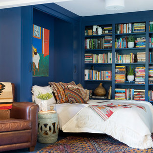 Inspiration For A Bedroom Remodel In Minneapolis With Blue Walls