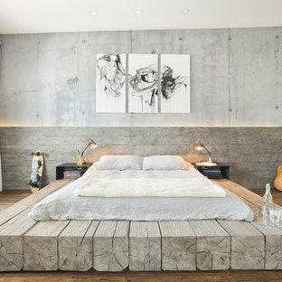 Esempio di una grande camera matrimoniale industriale con pavimento in legno massello medio e pareti grigie
