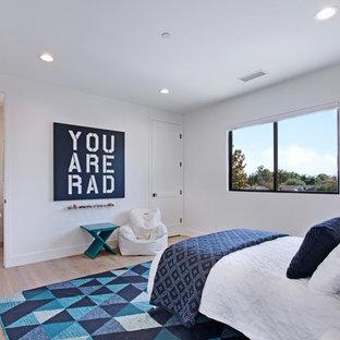 На фото: гостевая спальня среднего размера в современном стиле с белыми стенами, светлым паркетным полом и фасадом камина из штукатурки