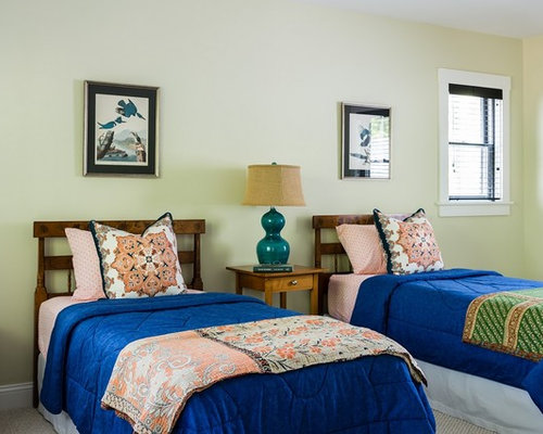 Example Of A Coastal Guest Carpeted Bedroom Design In Boston With Beige  Walls