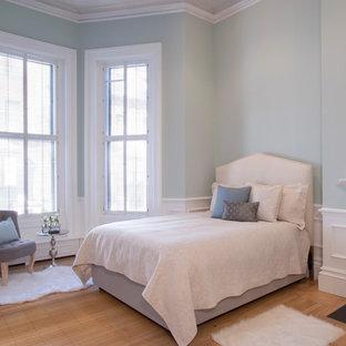 Ejemplo de habitación de invitados tradicional renovada, de tamaño medio, con paredes azules, suelo de madera clara, chimenea tradicional y marco de chimenea de madera