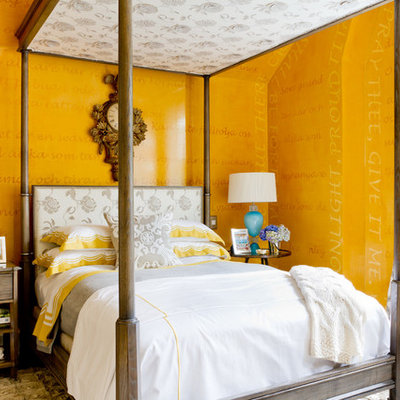 Inspiration for a contemporary bedroom remodel in New York with yellow walls