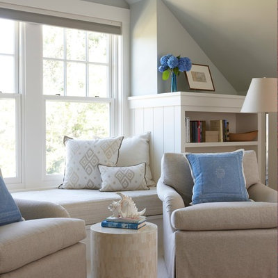 Small beach style master carpeted and beige floor bedroom photo in Boston with blue walls
