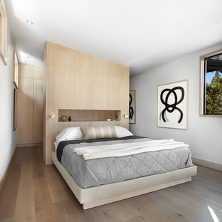 Inspiration for a contemporary guest bedroom in San Francisco with grey walls and medium hardwood flooring.