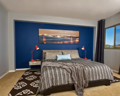 lovely gray accent wall bedroom | Blue Accent Wall Home Design Ideas, Pictures, Remodel and ...