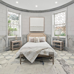 Example Of A Cottage Chic Master Multicolored Floor Bedroom Design In DC  Metro With Gray Walls