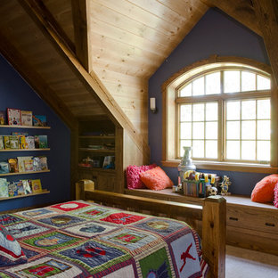 Example of a mid-sized mountain style loft-style bedroom design in Boston with blue walls