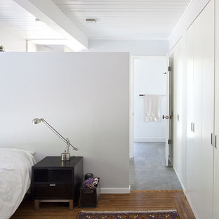 Inspiration for a 1950s medium tone wood floor bedroom remodel in San Francisco with gray walls