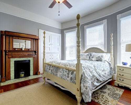 Traditional Bedroom Idea In Atlanta With Gray Walls A Tile Fireplace Surround And Standard