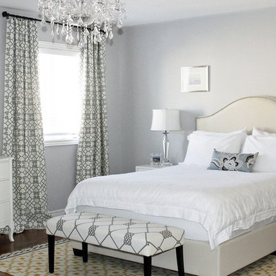 Inspiration for a contemporary bedroom remodel in Toronto with gray walls