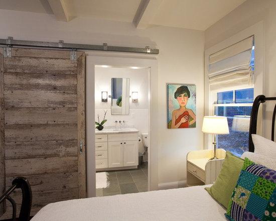 Master Bedroom Upstairs Kids Downstairs bathroom barn door | houzz