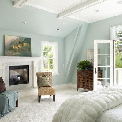 Elegant bedroom photo in San Francisco with blue walls