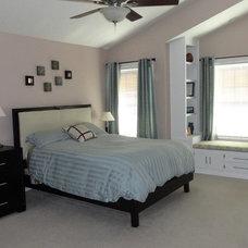 Contemporary Bedroom Master Bedroom built-in bookshelf and window bench seat
